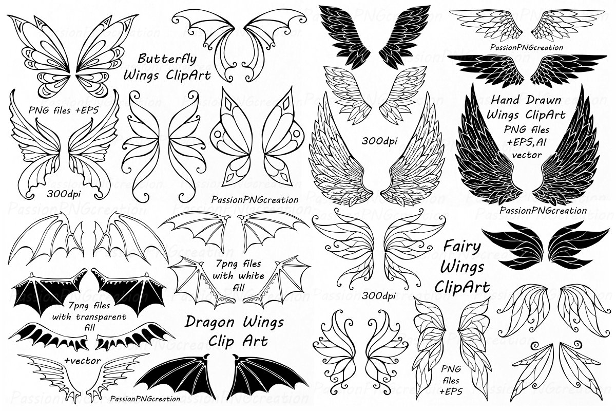 BIG SET of Doodle Wings Clipart.