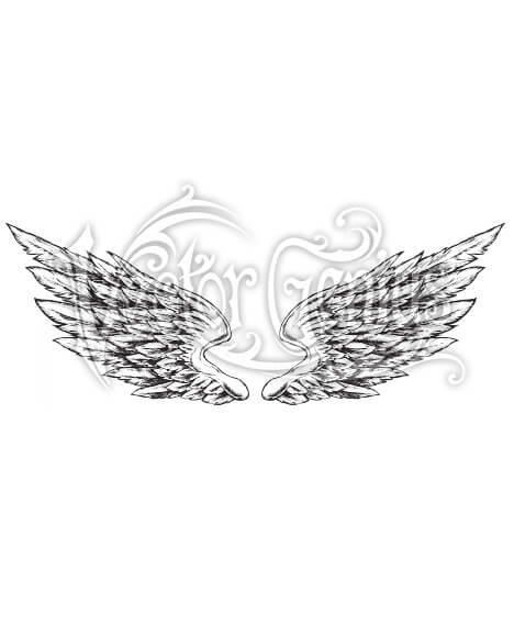 Intricate Open Wings ClipArt.