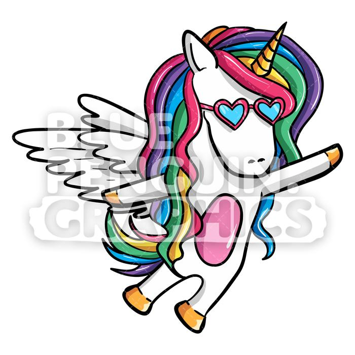 Girly Unicorn Flying With Wings Vector Cartoon Clipart Illustration.