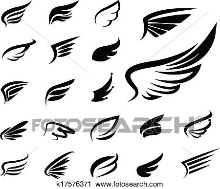 Wings vector set Clipart.