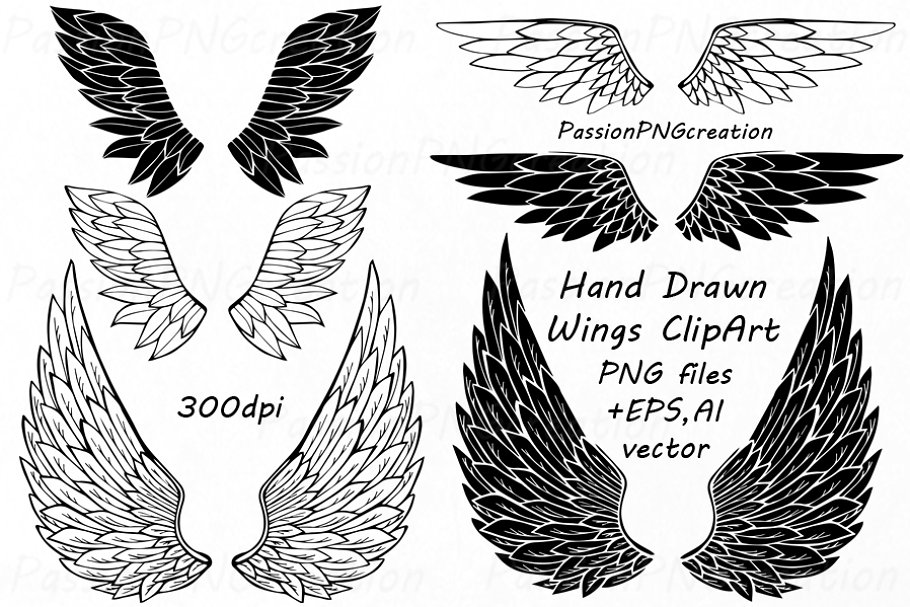 Hand Drawn Wings Clipart.