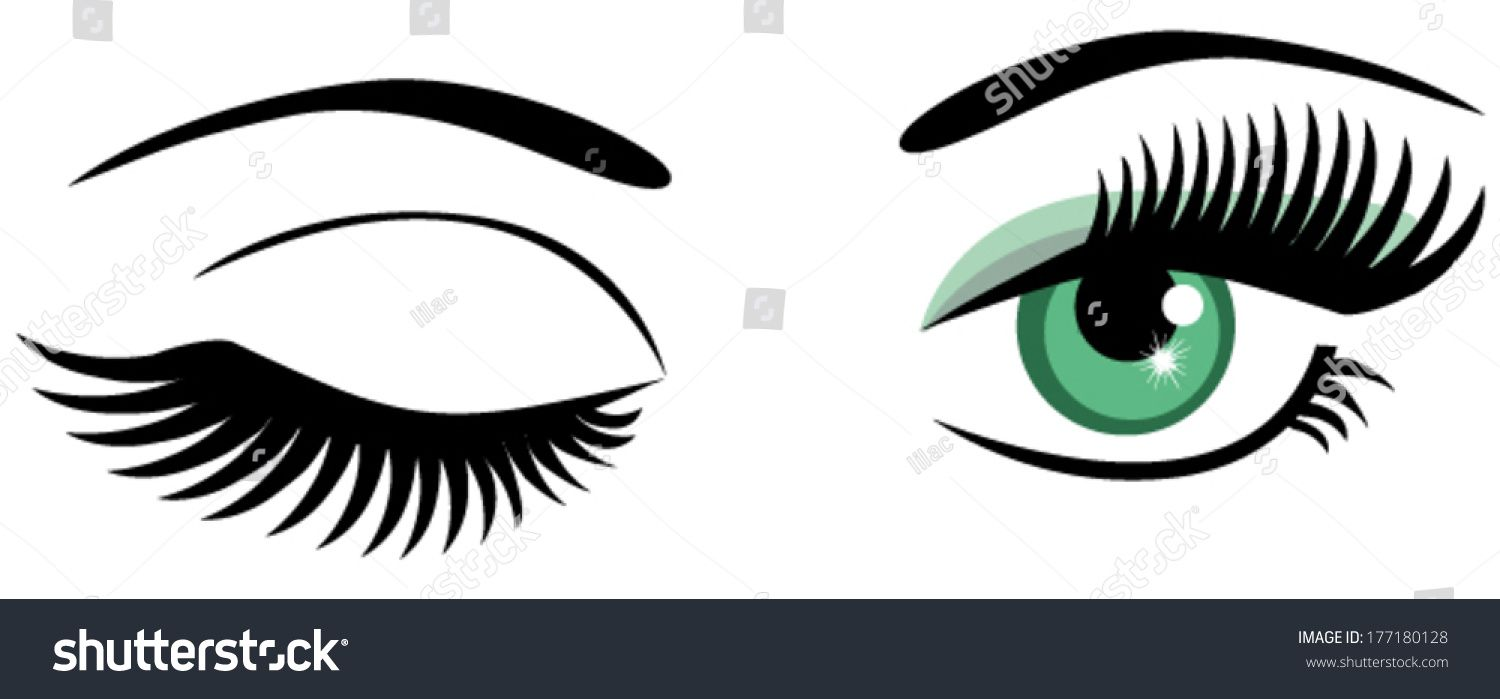 vector green eyes with long lashes winking.