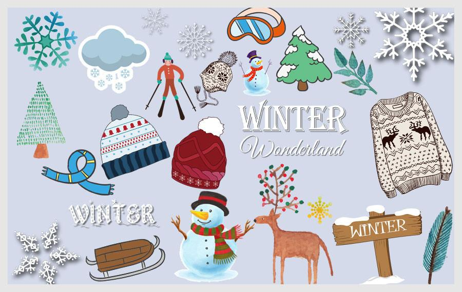 Winter Clipart (100+ pieces).
