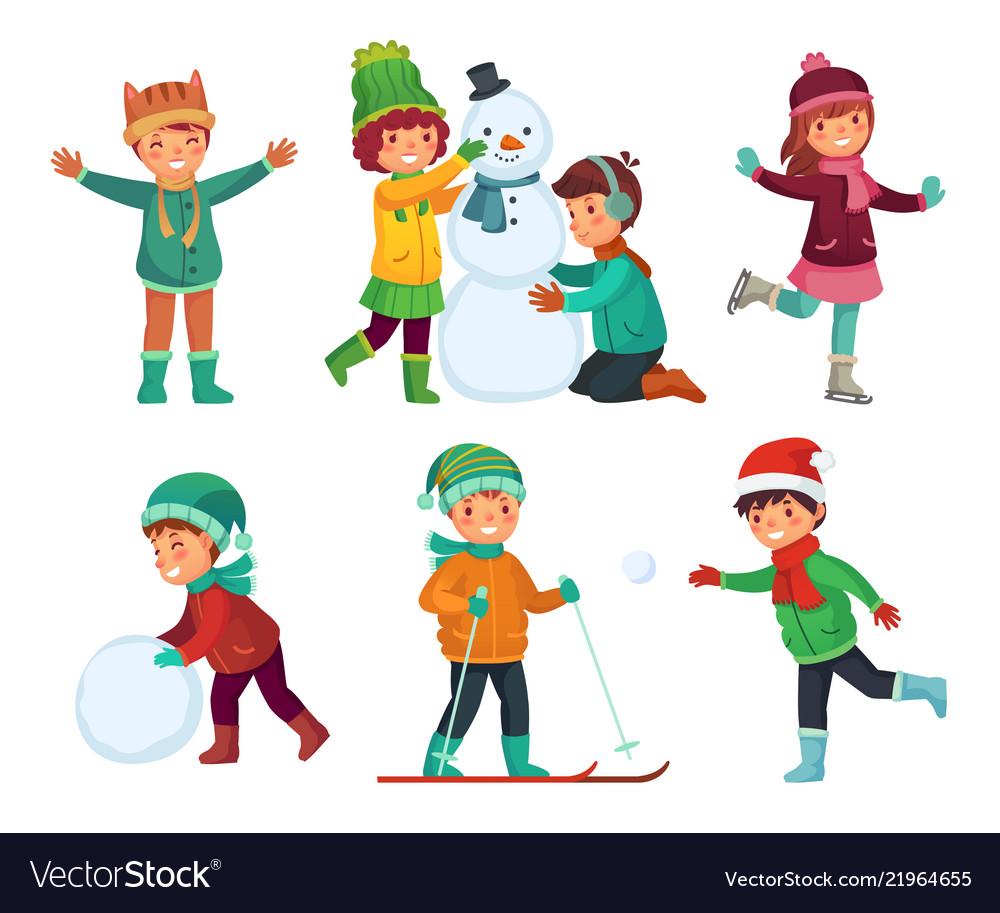 Happy kids winter activities children playing.