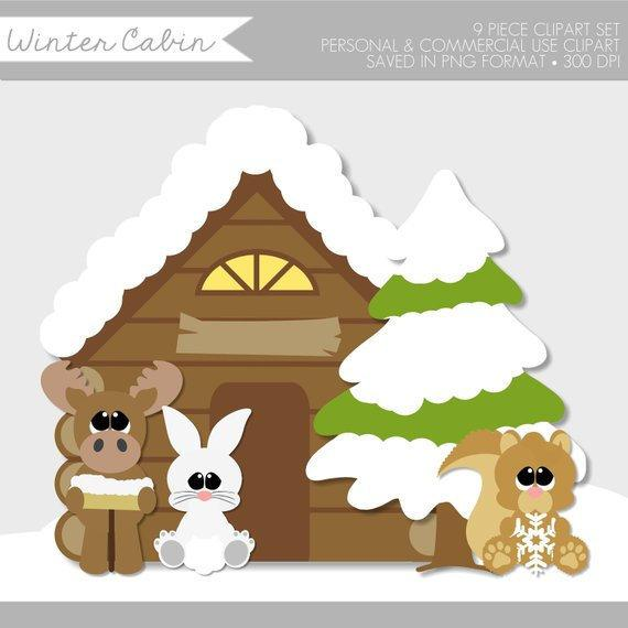 Winter Clipart,Winter Clipart Cute,Winter Animals Clip Art,Woodland.