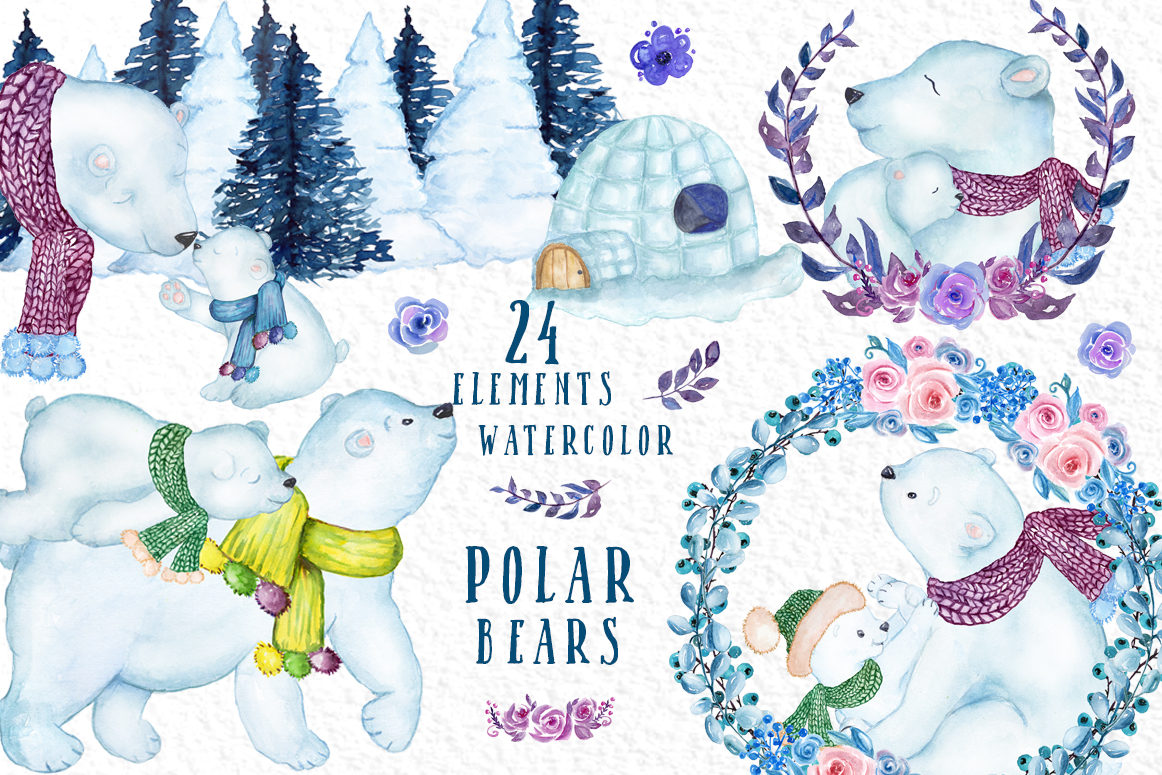 Watercolor Winter Animals, POLAR BEARS CLIPART, Mama Bear.