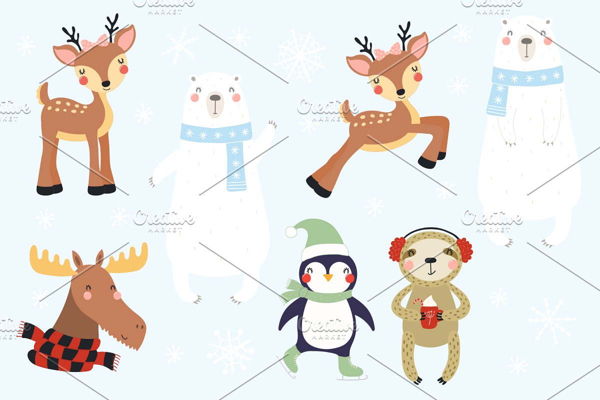 Cute Winter Animals Kids Clipart.