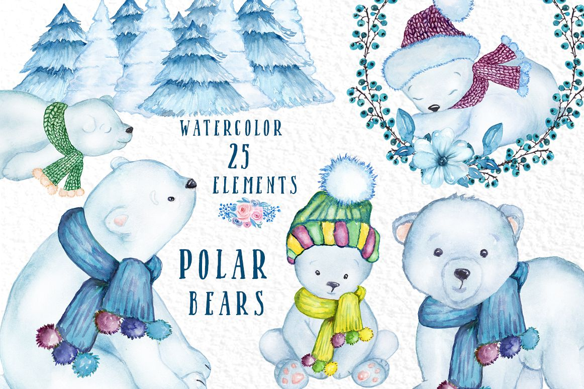Watercolor Winter Animals, POLAR BEARS CLIPART, Baby Bears.