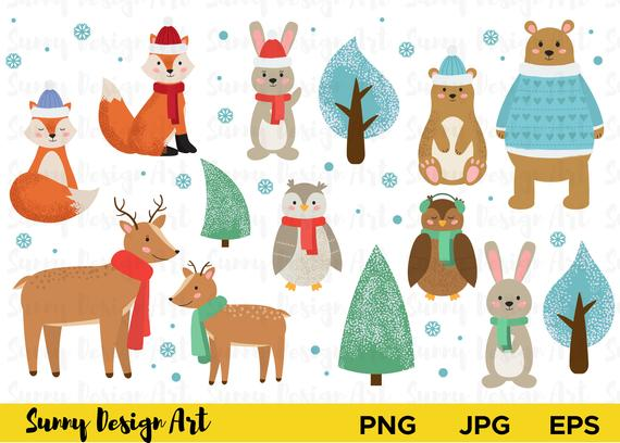 Winter animals clipart, Cute Forest animals vector, Woodland clipart,  Christmas animals vector, Holiday Animal Clip Art, Instant Download.