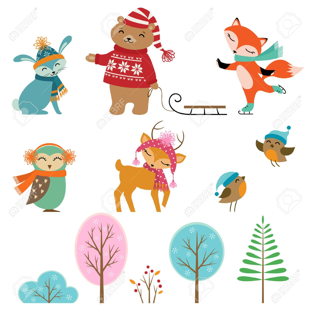 Set of cute winter animals and trees for your design..
