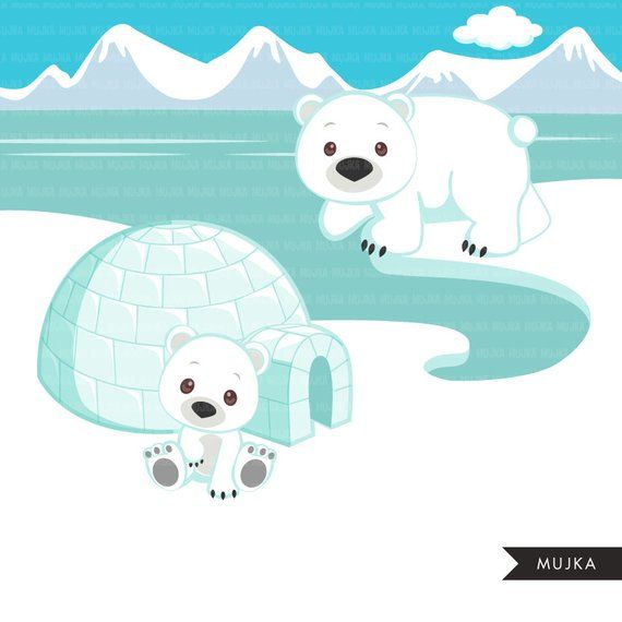 Arctic animals clipart. Cute winter animals, igloo, whale, walrus.