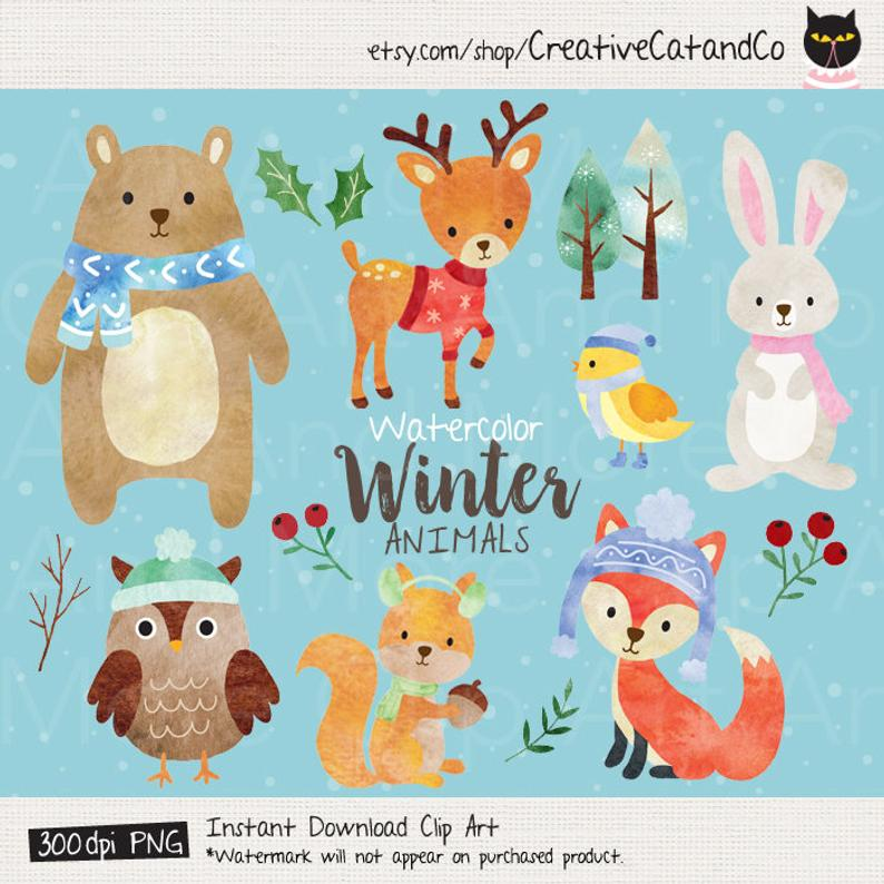Watercolor Winter Animal Clipart Watercolor Animal Clip Art Woodland Animal  Clipart Fox Bear Deer Bird Rabbit Bunny Owl Squirrel Clipart.