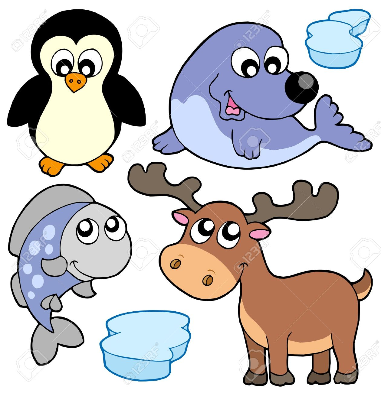 Cute winter animals.