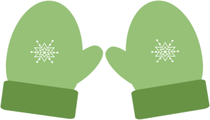 CHRISTMAS, GREEN WINTER MITTENS, CLIP ART.