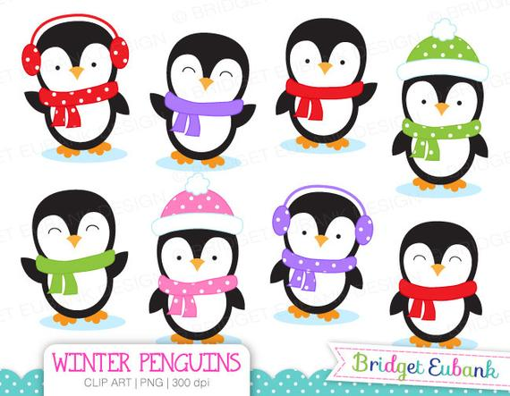 Penguin Clipart, Penguins Clipart, Winter clipart, Christmas clipart, 8  High Quality PNG Images, Instant Download.