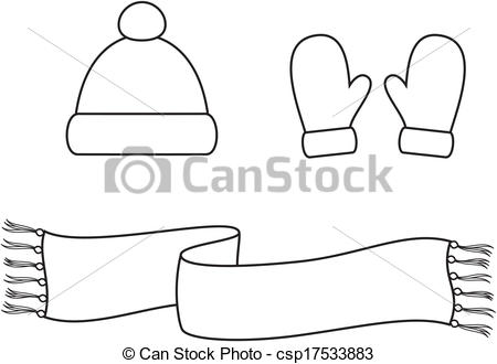 Vector of Cap, scarf, mittens.