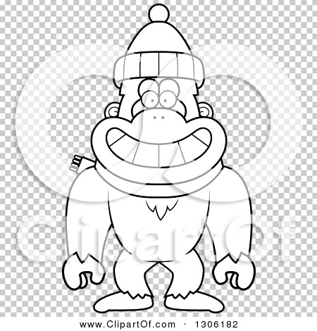 Lineart Clipart of a Cartoon Black and White Happy Yeti Abominable.