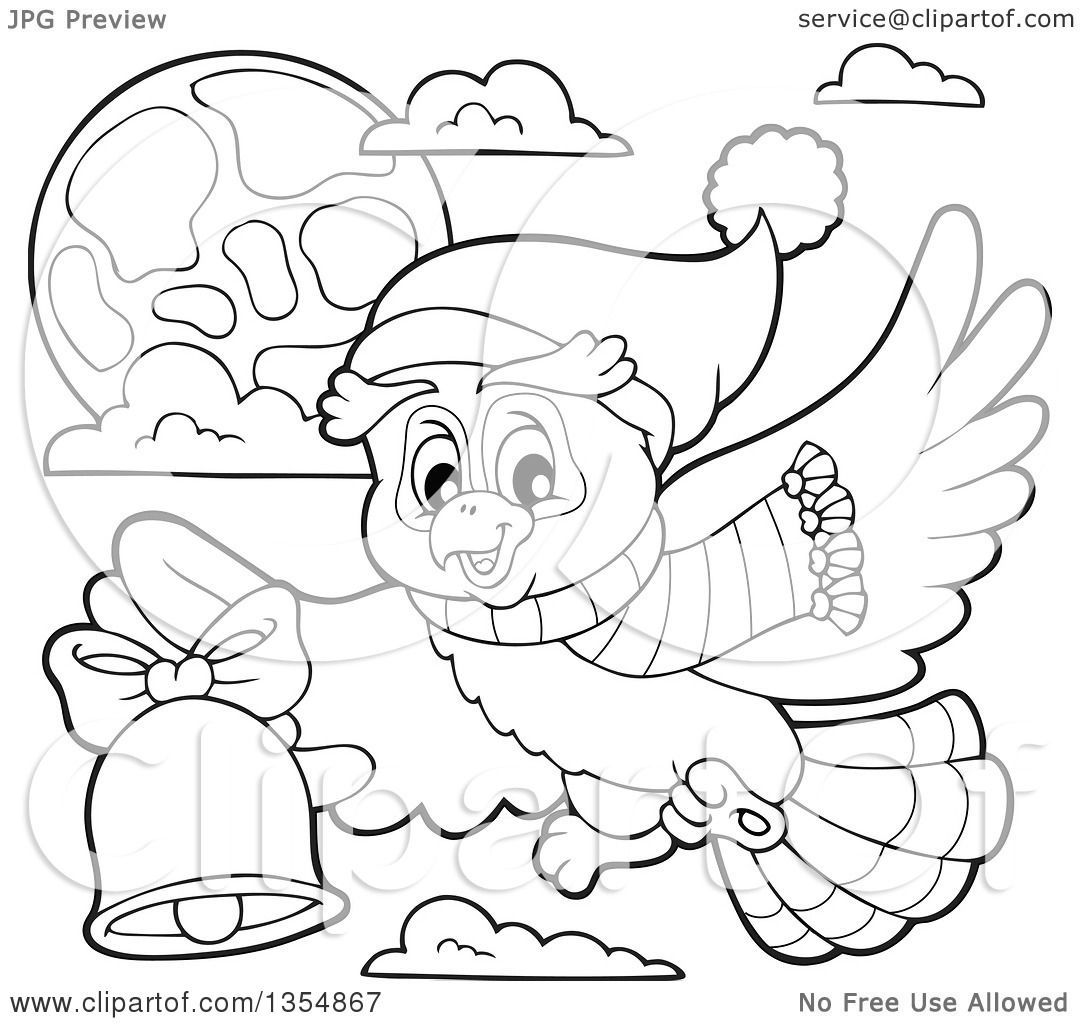 Outline Clipart of a Cartoon Black and White Christmas Owl Wearing.