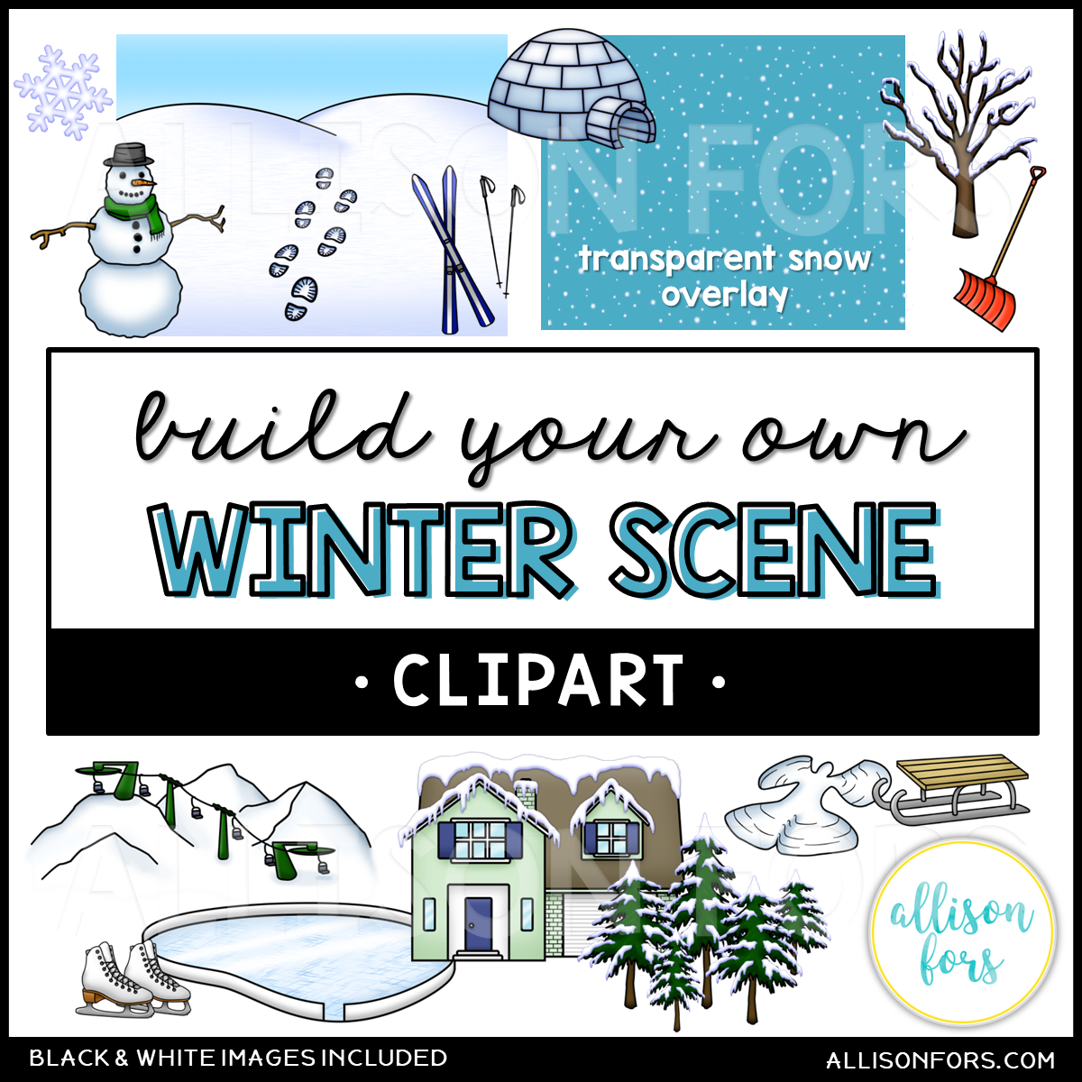 Build Your Own: Winter Scene Clip Art.