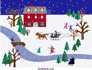 winter scene Vector Clip art.