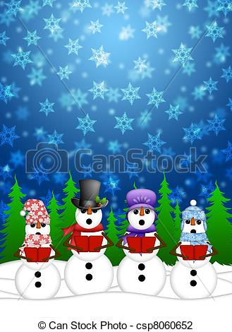 Clip Art of Snowman Carolers Singing with Winter Snowing Scene.