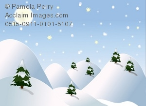 Clip Art Illustration of a Snowy Winter Scene With Trees.