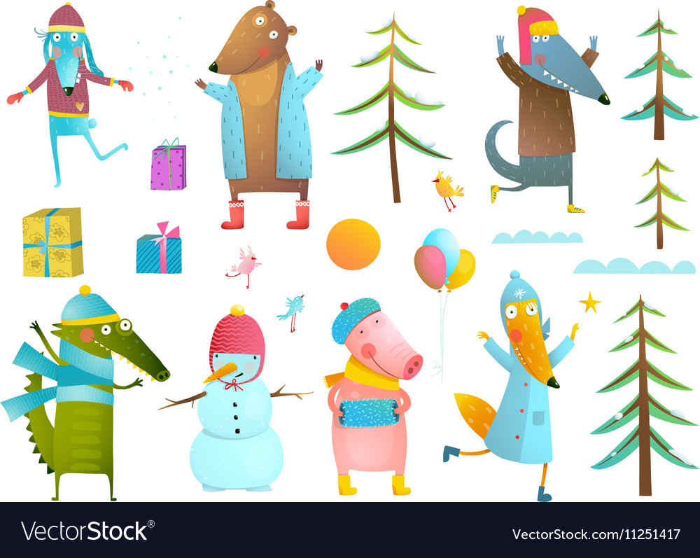 Winter season holiday animals clip art collection.