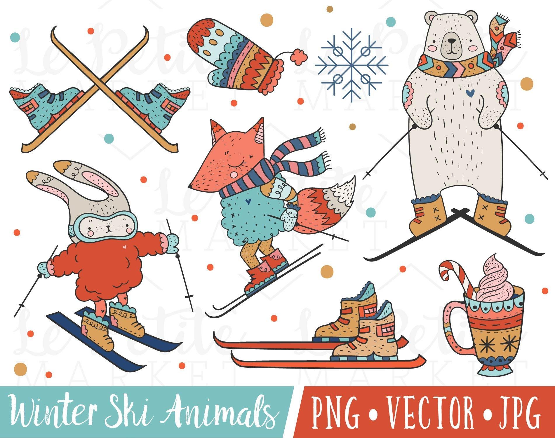 Cute Winter Animals Clipart, Cute Ski Clipart, Skiing Animals Clipart,  Polar Bear Clipart, Winter Fox Clipart, Outdoor Winter Sports Clipart.
