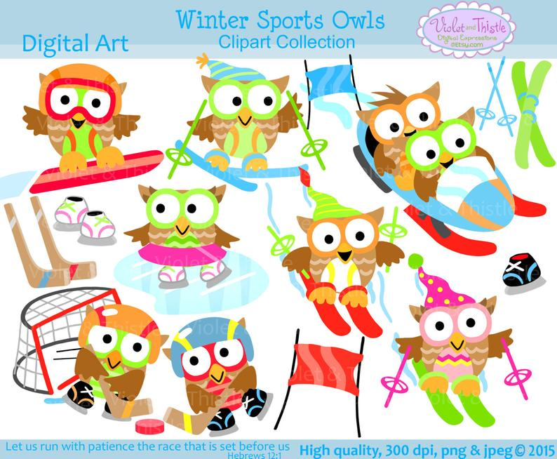 Winter Sports Owls Clip Art Clipart snowboarding ice skating cross country  skiing hockey stick goal net ice rink instant digital download.