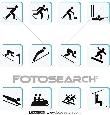 Winter Sports Icons Clipart.