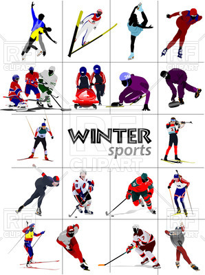 Winter sports athletes Vector Image.