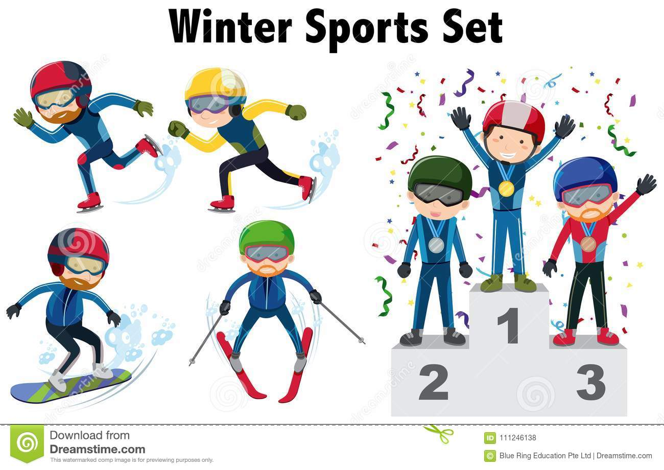 Different Types Of Winter Sports Stock Illustration.