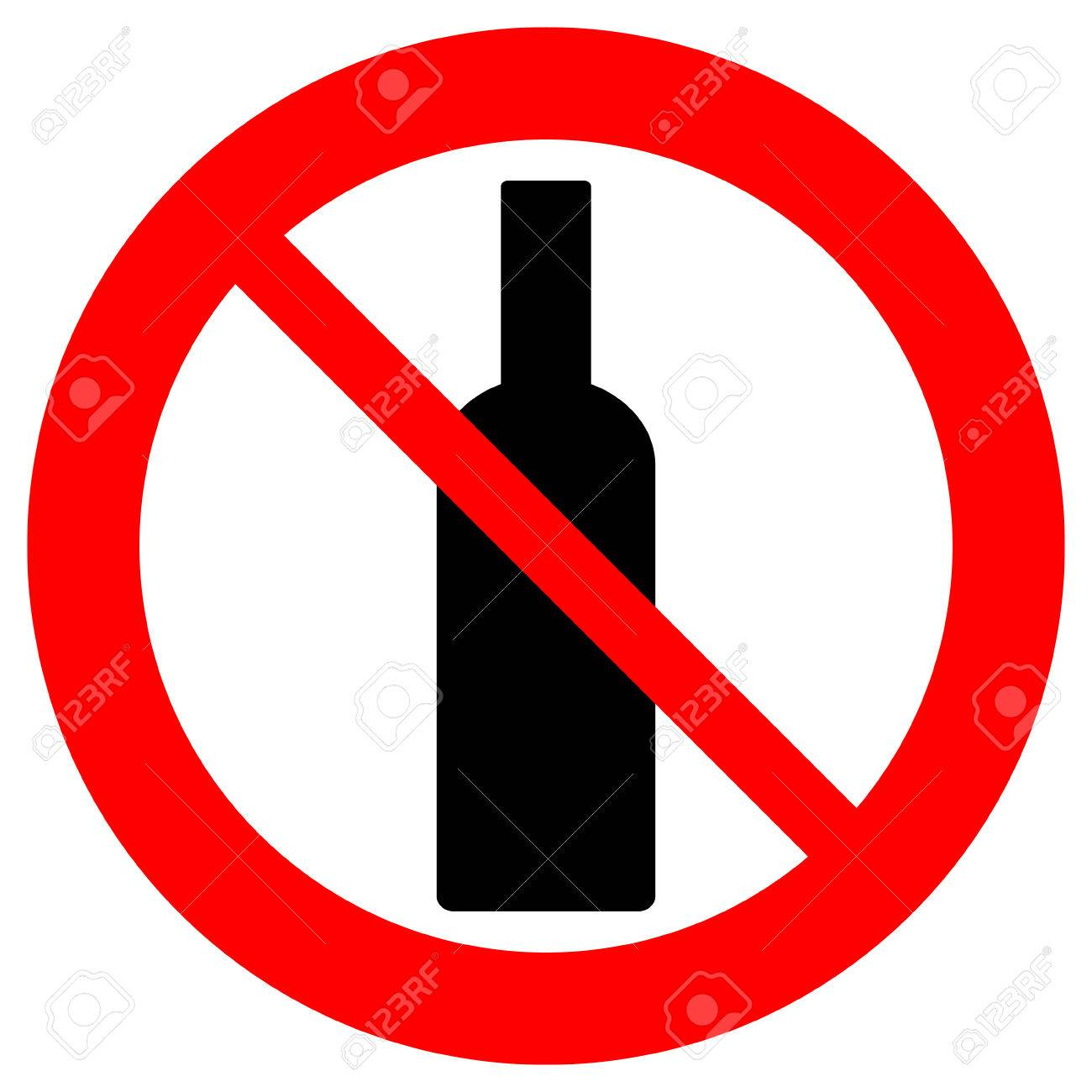 No alcohol sign on white background..