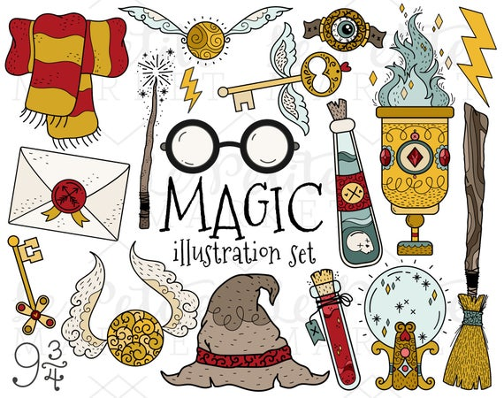 Wizard Magic Clipart Images, Magic House Colors Goblet Magician Witch Clip  Art Set, Wizard Birthday, Magic Themed Birthday, Wizard School.