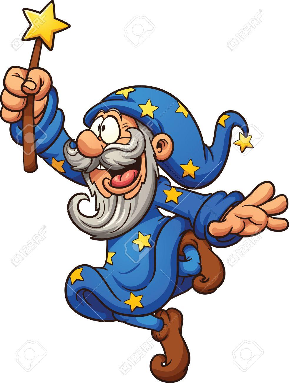 Cartoon wizard with magic wand. Vector clip art illustration...