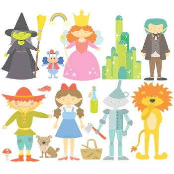Fairy Tale The Wonderful Wizard Of Oz Digital Clipart & Vector Set.