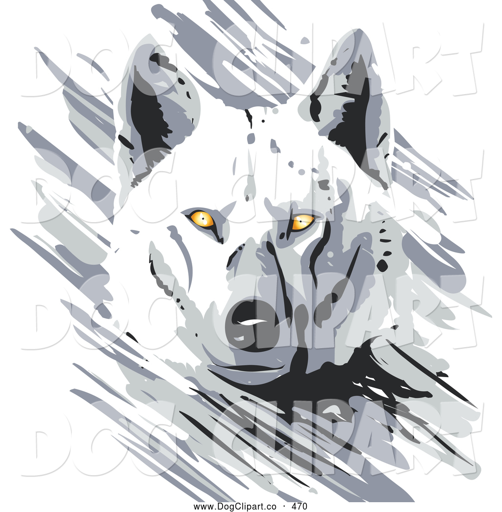 Vector Clip Art of a Cute Majestic White Wolf with Bright Yellow.