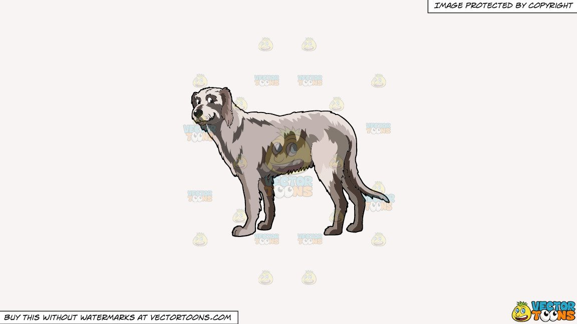 Clipart: A Smiling Irish Wolfhound on a Solid White Smoke F7F4F3 Background.