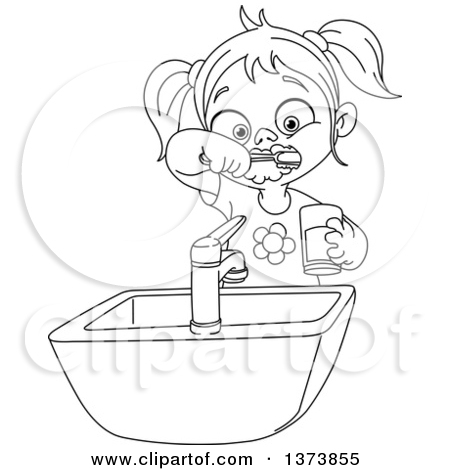 Clipart Woman Brush Teeth Black.