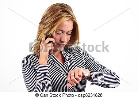 Pictures of Business woman checking time, isolated on white.