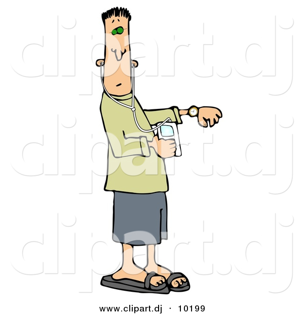 Clipart of a Cartoon Rushed Man Checking Time on Watch While in.
