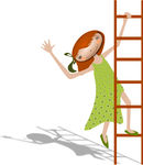 EPS Vectors of Girl with a ladder..