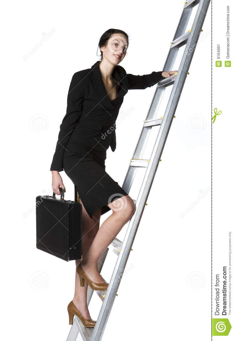 Woman Climbing A Ladder Stock Image.