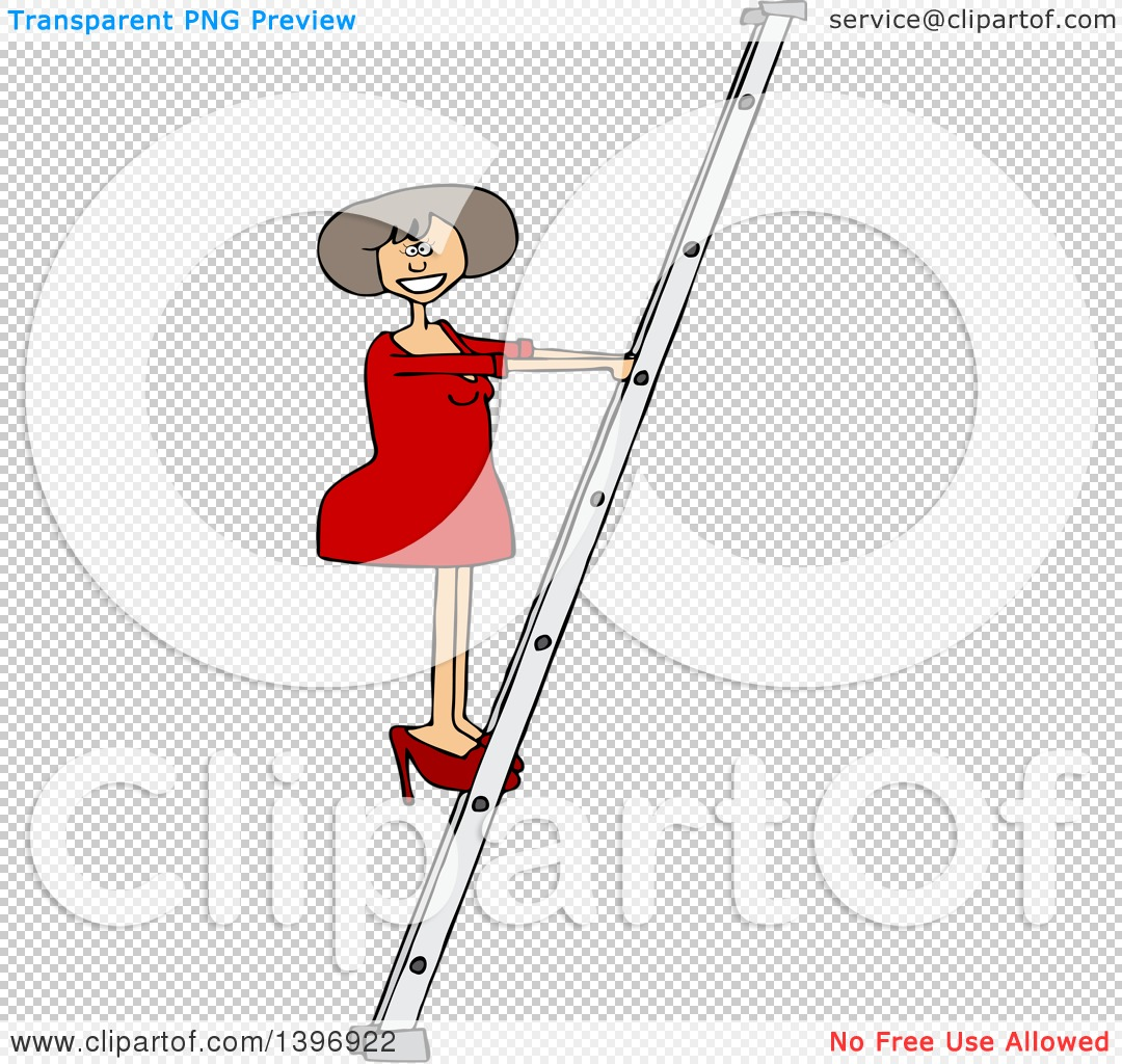 Clipart of a Cartoon White Business Woman Climbing a Ladder.