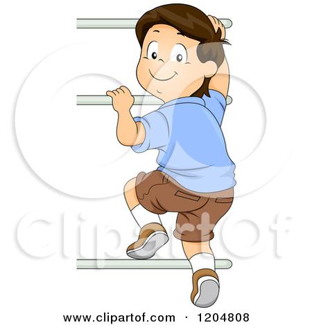 Woman Climbing Ladder Clipart.