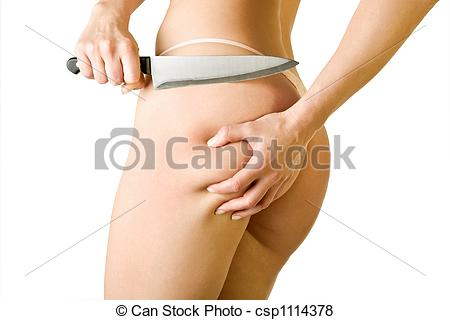 Pictures of girl cut off her cellulite, isolated on white.