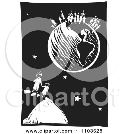 Clipart of a Black and White Woodcut Islamic Refugee Mother with.