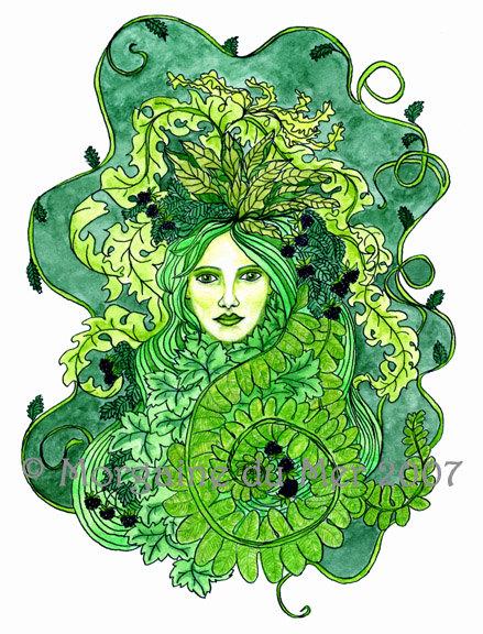 GreenWoman Earth Mother Fae Goddess Print Pagan Fantasy Wall Art.