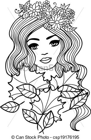 EPS Vectors of Black and white outline girl with fall leaves.