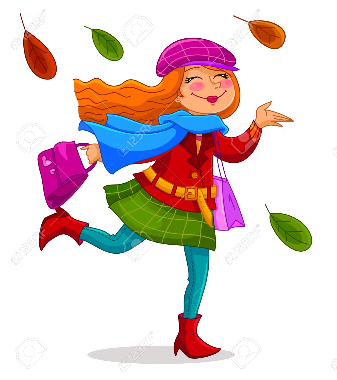 Happy Woman Carrying Shopping Bags Under Falling Autumn Leaves.